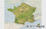 Satellite 3D Map of France, lighten