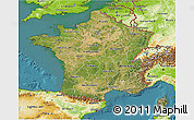 Satellite 3D Map of France, physical outside, satellite sea