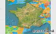 Satellite 3D Map of France, political outside, satellite sea