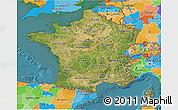 Satellite 3D Map of France, political outside, satellite sea