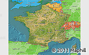 Satellite 3D Map of France, political shades outside, satellite sea