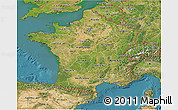 Satellite 3D Map of France