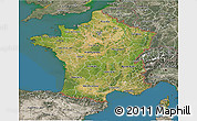 Satellite 3D Map of France, semi-desaturated, land only