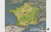 Satellite 3D Map of France, semi-desaturated