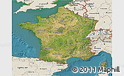 Satellite 3D Map of France, shaded relief outside, satellite sea