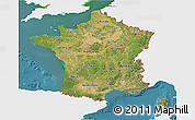 Satellite 3D Map of France, single color outside