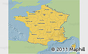 Savanna Style 3D Map of France, single color outside