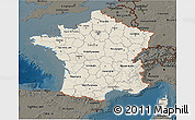 Shaded Relief 3D Map of France, darken