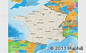 Shaded Relief 3D Map of France, political outside, shaded relief sea