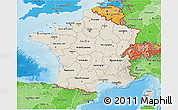 Shaded Relief 3D Map of France, political shades outside, shaded relief sea