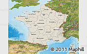 Shaded Relief 3D Map of France, satellite outside, shaded relief sea