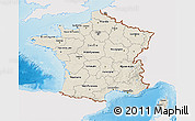 Shaded Relief 3D Map of France, single color outside