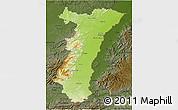 Physical 3D Map of Alsace, darken