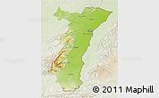 Physical 3D Map of Alsace, lighten