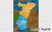 Political 3D Map of Alsace, darken
