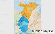 Political 3D Map of Alsace, lighten