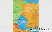 Political 3D Map of Alsace, political shades outside