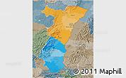 Political 3D Map of Alsace, semi-desaturated