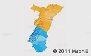 Political 3D Map of Alsace, single color outside