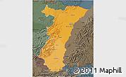 Political Shades 3D Map of Alsace, darken, semi-desaturated