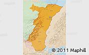 Political Shades 3D Map of Alsace, lighten