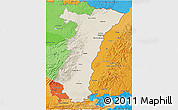 Shaded Relief 3D Map of Alsace, political shades outside