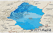 Political Shades Panoramic Map of Haut-Rhin, shaded relief outside