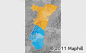 Political Map of Alsace, desaturated