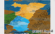 Political Panoramic Map of Alsace, darken