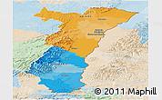 Political Panoramic Map of Alsace, lighten
