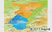 Political Panoramic Map of Alsace, physical outside