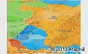 Political Panoramic Map of Alsace, political shades outside