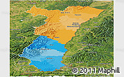 Political Panoramic Map of Alsace, satellite outside