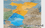 Political Panoramic Map of Alsace, semi-desaturated