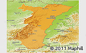 Political Shades Panoramic Map of Alsace, physical outside
