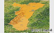 Political Shades Panoramic Map of Alsace, satellite outside
