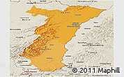 Political Shades Panoramic Map of Alsace, shaded relief outside