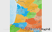 Political 3D Map of Aquitaine, political shades outside