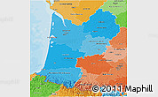 Political Shades 3D Map of Aquitaine