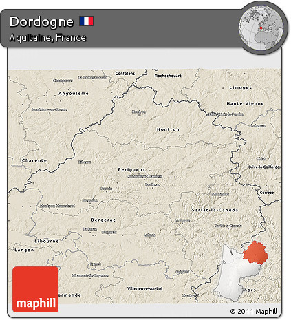 Free Shaded Relief 3D Map of Dordogne