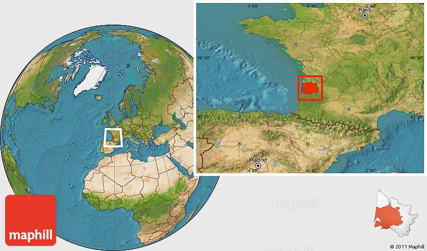 Satellite Location Map of Bordeaux