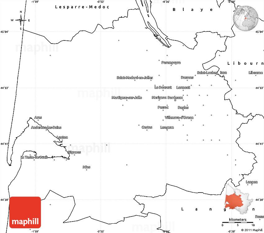 Blank Simple Map of Bordeaux