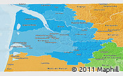 Political Shades Panoramic Map of Gironde