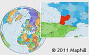 Political Location Map of Aquitaine