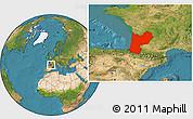 Satellite Location Map of Aquitaine