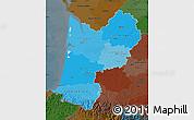 Political Shades Map of Aquitaine, darken