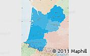 Political Shades Map of Aquitaine, lighten