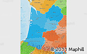 Political Shades Map of Aquitaine