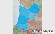 Political Shades Map of Aquitaine, semi-desaturated