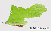 Physical Panoramic Map of Aquitaine, cropped outside